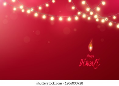 Vector horizontal banner for festival of lights Diwali with border of realistic light garlands. Festive red background for design of flyer of Indian Hindu holiday Deepavali with shiny glowing bulbs.