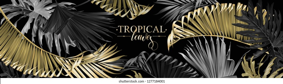 Vector horizontal banner with gold, silver and black tropical leaves on dark background. Best as web banner