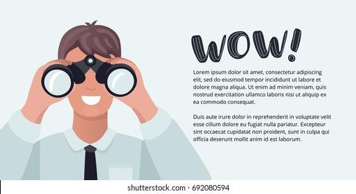 Vector horizontal banner with man looking through binoculars flat cartoon illustration