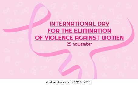 Vector horizontal banner. Pink ribbon for International Day for the Elimination of Violence Against Women