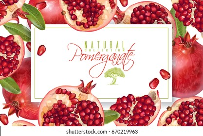 Vector horizontal banner with pomegranate fruits on white background. Design for cosmetics, spa, pomegranate juice, health care products, perfume. Can be used as vegetarian menu or summer background