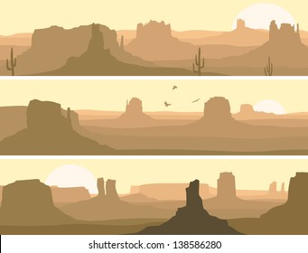 Vector horizontal banner: prairie wild west with cacti and birds of prey.