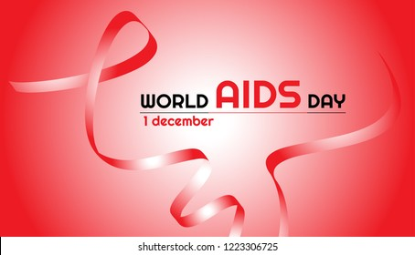 Vector horizontal banner. Red ribbon for World AIDS day. Red-white gradient background