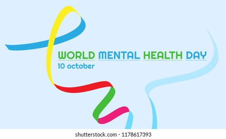 Vector horizontal banner with ribbon on World Mental Health Day on a pale blue background.