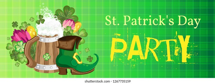 Vector horizontal banner to the St. Patricks Day party. Arrangement of a cup with a shoe surrounded by flowers of clover and trefoils with quatrefoils. On a checkered green background