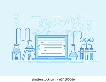 Vector horizontal banner in trendy flat linear style for websites and app development business - laboratory of coding
