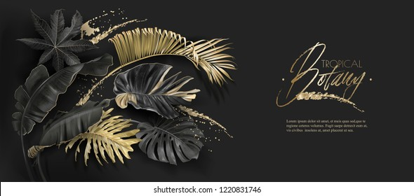 Vector horizontal banner with tropical leaves and gold splashes on dark background. Luxury exotic botanical design for cosmetics, spa, perfume, aroma, beauty salon. Best as wedding invitation card