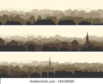 Vector of horizontal banners abstract of old historic European city.