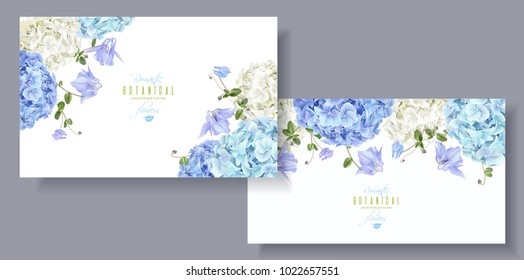 Vector horizontal banners with blue and white hydrangea flowers on white background. Floral design for cosmetics, perfume, beauty care products. Can be used as greeting card, wedding invitation