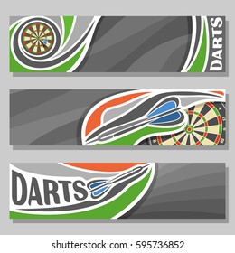 Vector horizontal Banners for Darts board: 3 cartoon covers for title text on dart Dartboard theme, arrow throwing in target dartboard goal, abstract headers banner for inscription on grey background.