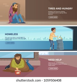 Vector horizontal banners with illustrations of poor and homeless peoples. Horizontal banner with hopeless and workless need help
