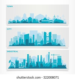 Векторные горизонтальные баннеры skyline Kit с различными частями города: заводы, нефтеперерабатывающие заводы, электростанции и небольшие города или пригороды. Иллюстрация разделена на слои для создания эффекта параллакса