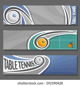 Vector horizontal Banners for Table Tennis: 3 cartoon covers for title text on table tennis theme, flying trajectory ping pong ball, abstract simple headers banner for inscriptions on grey background.