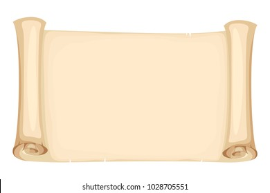 Vector horizontal beige parchment scroll isolated on a white background.