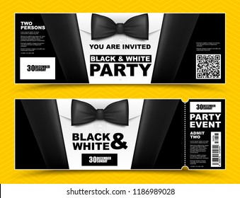 Vector horizontal black and white event invitations. Black bow tie businessmen banners. Elegant party ticket card with black suit and white shirt