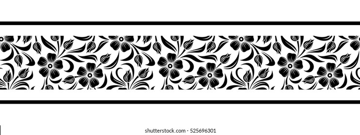 Vector horizontal black and white seamless border with flowers.