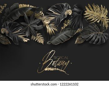 Vector horizontal border with black and gold tropical leaves on dark background.. Luxury exotic botanical design for cosmetics, spa, perfume, aroma, beauty salon. Best as wedding invitation card