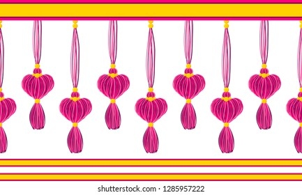 Vector horizontal border pattern. Dangling tassels with hearts, yarn tread with beads, ropes. Crimson Pink, rose colors on black background. Wedding, Valentine day, love theme design for headers, card