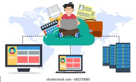 Vector horizontal business banner. Concept of cloud storage and safe data keeping in internet. Various data and user sitting on online cloud connected with server, computer and laptop in flat style