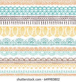 Vector horizontal crochet seamless pattern. Ethnic hand-drawn pattern. Knitted crochet texture, handmade lacy decorations on white background.