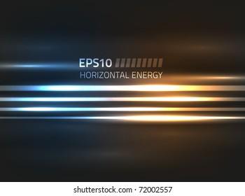 Vector horizontal energy design against dark background