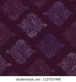 Vector Horizontal Flowerly Tiles in purple seamless pattern background. Perfect for fabric, scrapbooking and wallpaper projects.