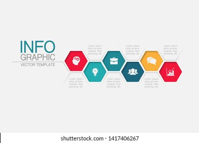 Vector horizontal honeycomb infographic diagram, template for business, presentations, web design, 6 options.