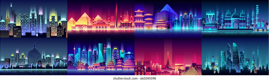 Vector horizontal illustration background city night neon style architecture buildings town country travel Moscow Russian capital France, Paris, Japan, India, Egypt, pyramids, China, Brazil, USA