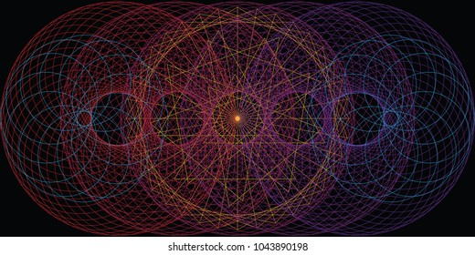 vector horizontal illustration of circles and rings with overlapping different colors for dark cosmic backgrounds