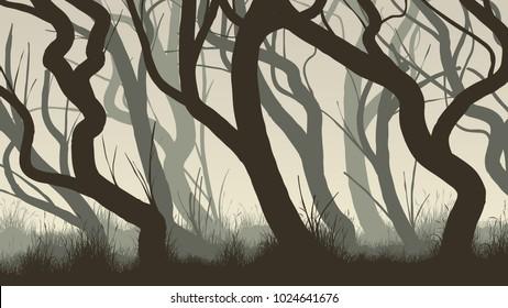 Vector horizontal illustration of curved tree trunks deadwood.