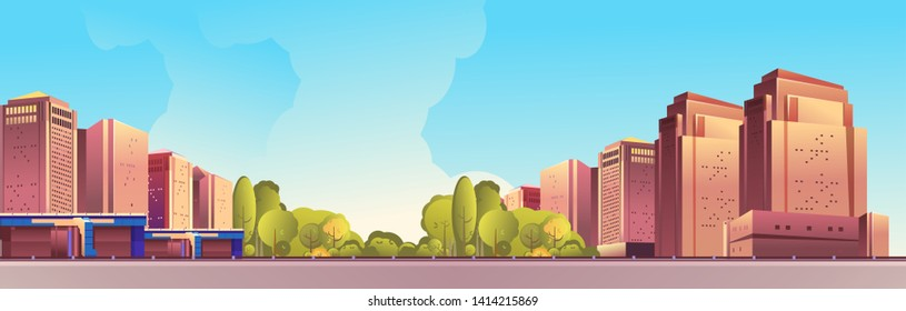 vector horizontal illustration, day city landscape, outskirts of a city, city park, street