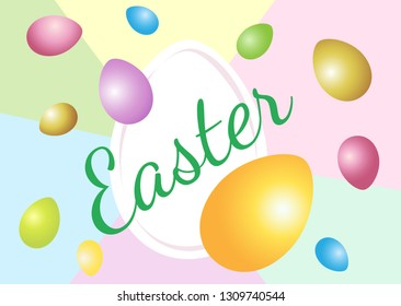 Vector horizontal illustration for the holiday of Easter. Abstract pastel background