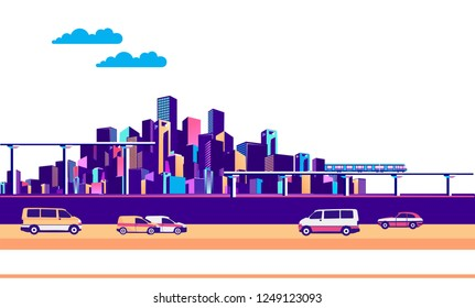 vector horizontal illustration industrial cityscape with bridges roads and moving vehicles banner on white background isolated