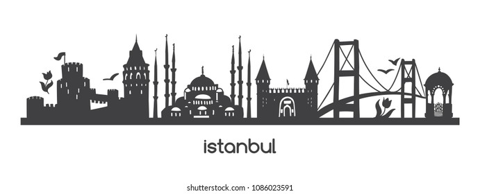 Vector horizontal illustration Istanbul. Black silhouette of famous turkish symbols and landmarks. Hand drawn elements of tower, bridge, tram, mosque in Turkey. Panoramic banner or print design.