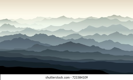 Vector horizontal illustration of morning misty landscape with mountain ranges.
