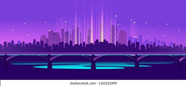 vector horizontal illustration neon silhouette of night city in electric lights railway bridge across river panoramic