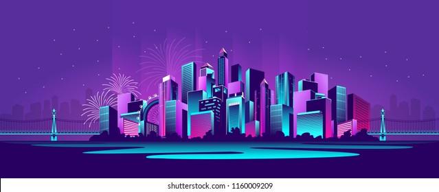 vector horizontal illustration neon-strewn night metropolis panoramic