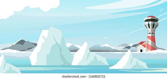 vector horizontal illustration northern spicy, lighthouse coastal part, ice iceberg