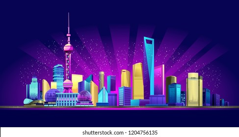 Vector horizontal illustration of the promenade night, the Chinese city of Shanghai in the neon glow of skyscrapers houses buildings