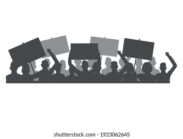 Vector horizontal illustration of protesting people with blank banners in their hands. Men and women participate in a revolution, political protest or rally.Silhouette isolated on a white background.