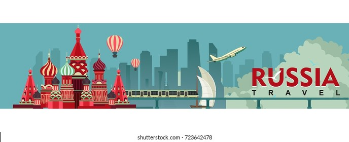 vector horizontal illustration Russia Moscow banner travel around Europe sight-seeing cathedral on red square