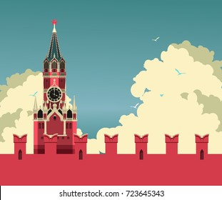 vector horizontal illustration Russia Moscow Kremlin tower against the sky with clouds