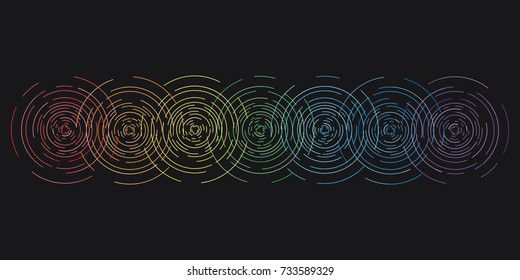 vector horizontal  illustration of seven chakras with colorful stylized beams shine for body and spiritual energy training designs