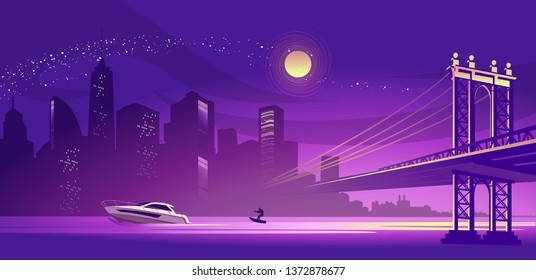 vector horizontal illustration silhouette of a night misty city, lit by lights and moonlight, a bridge connecting two districts across a canal, a boat with a man on a water ski floats along a river