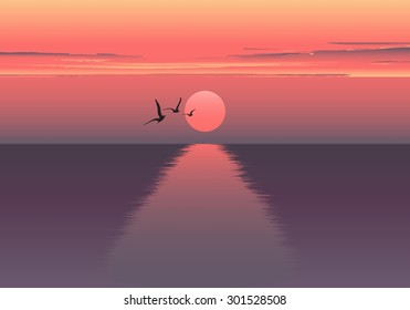 Vector horizontal illustration of sunset. beautiful sunrise at the sea. Sea birds. Sea background. Ocean background.