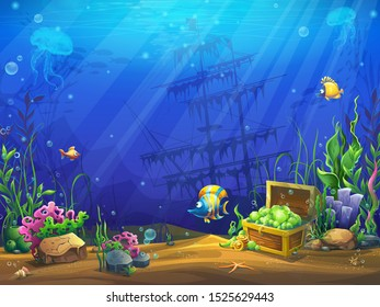 Vector horizontal illustration of the underwater ocean. Bright background image to create original video or web games, graphic design, screen savers