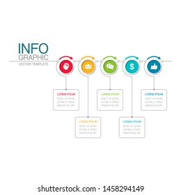 Vector horizontal infographic diagram. template for business, presentations, web design, 5 options.