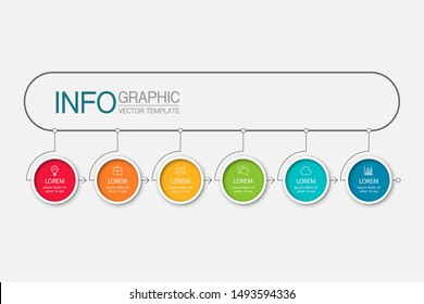 Vector horizontal infographic diagram, template for business, presentations, web design, 6 options.