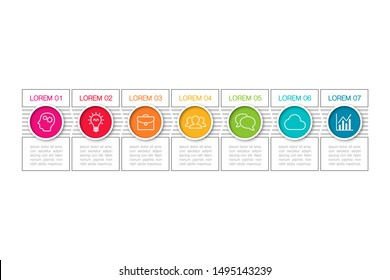 Vector horizontal infographic diagram, template for business, presentations, web design, 7 options.