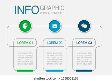 Vector horizontal infographic diagram, template for business, presentations, web design, 3 options.